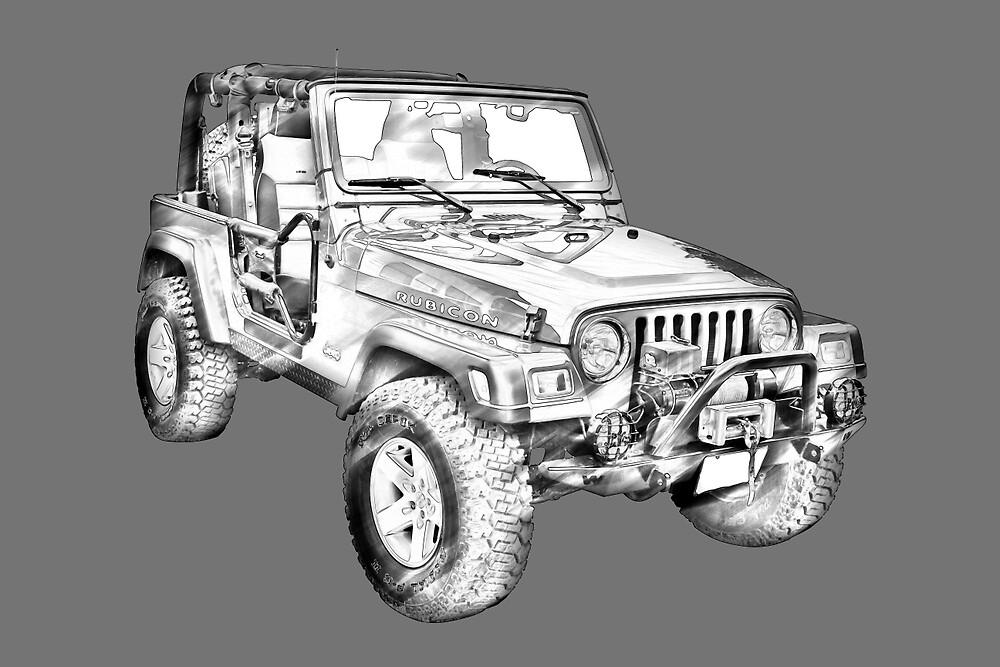 Jeep Wrangler Rubicon Illustration by KWJphotoart