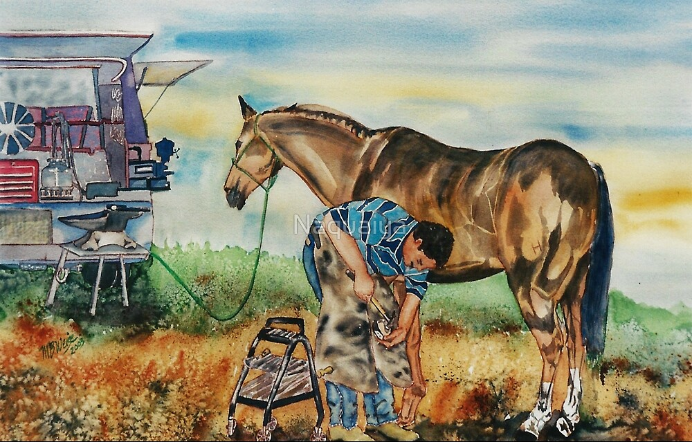 Horseshoeing Day is Here watercolor by Naquaiya