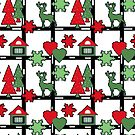 Seamless Christmas deer house tree eve snowflake hearts white red green by fuzzyfox