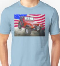 Red Jeep Wrangler Rubicon with American Flag T-Shirt