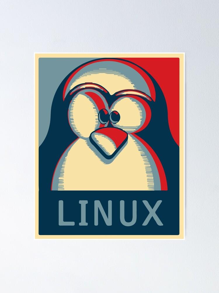 Alternate view of Linux tux penguin obama poster logo Poster