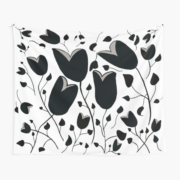 Tulips in Black and Gray Tapestry