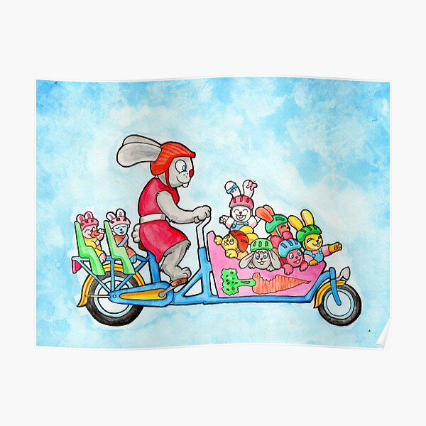 Family Bunny Bike Poster