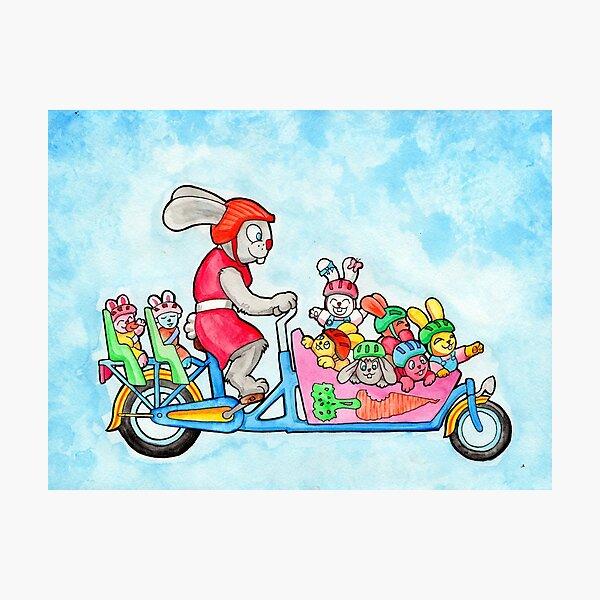 Family Bunny Bike Photographic Print