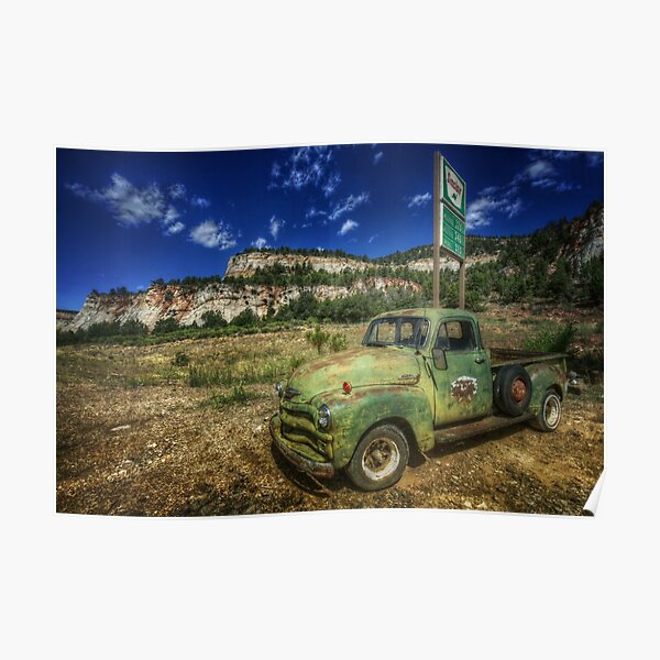 A Chevy and Checkerboard Mesa Poster