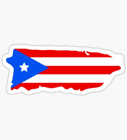 Puerto Rico map with flag colors Sticker