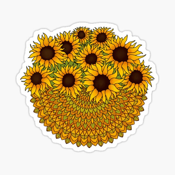 Sunflower Mandala Sticker