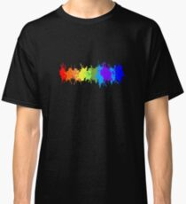 Customize rainbow paint splash drips gay pride geek funny nerd Classic T-Shirt