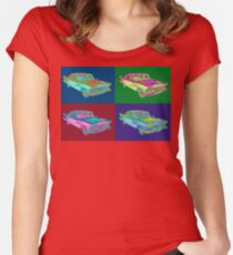 1958 Plymouth Savoy Classic Car Pop Art Women's Fitted Scoop T-Shirt