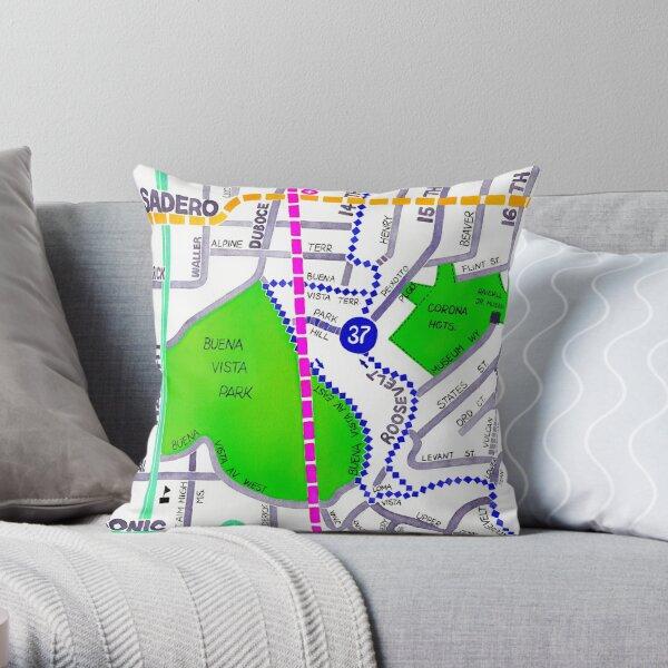 San Francisco map - Buena Vista Park Throw Pillow