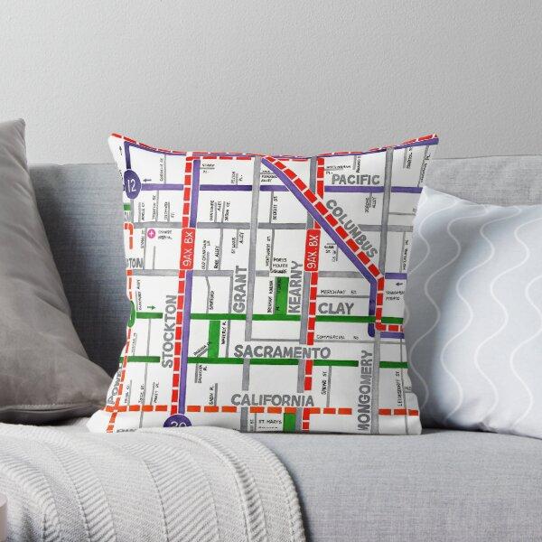 San Francisco map - Chinatown Throw Pillow