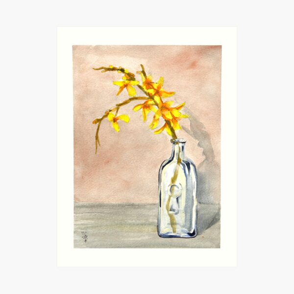 forsythia in antique jar with keyhole stamp, 2 of 2 Art Print