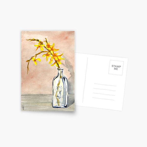 forsythia in antique jar with keyhole stamp, 2 of 2 Postcard