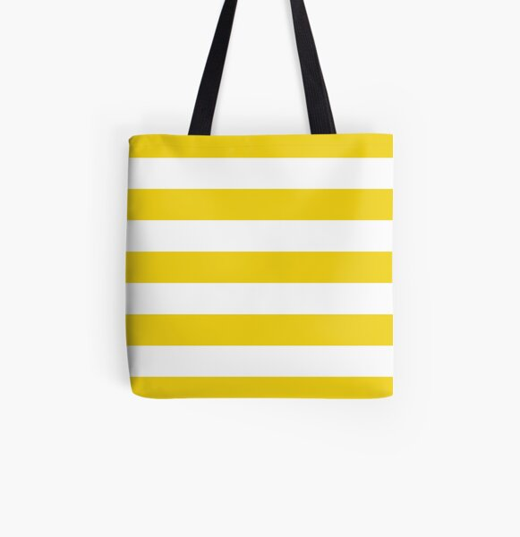 Stripes (Parallel Lines) - Yellow White Bolsa estampada de tela