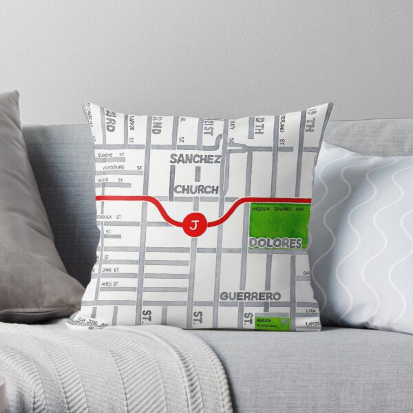 San Francisco map - Dolores Heights Throw Pillow