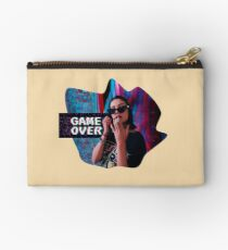 Game over Arcade style Vintage Collage Design Zipper Pouch