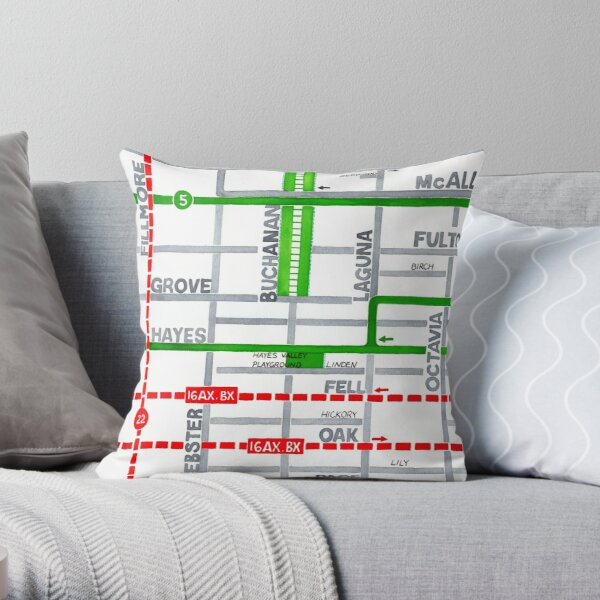 San Francisco map - Hayes Valley Throw Pillow