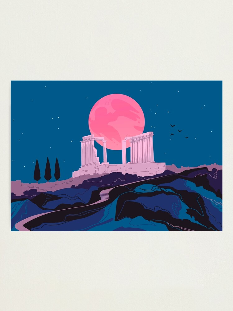 Alternate view of Temple of Poseidon at Sounion Photographic Print