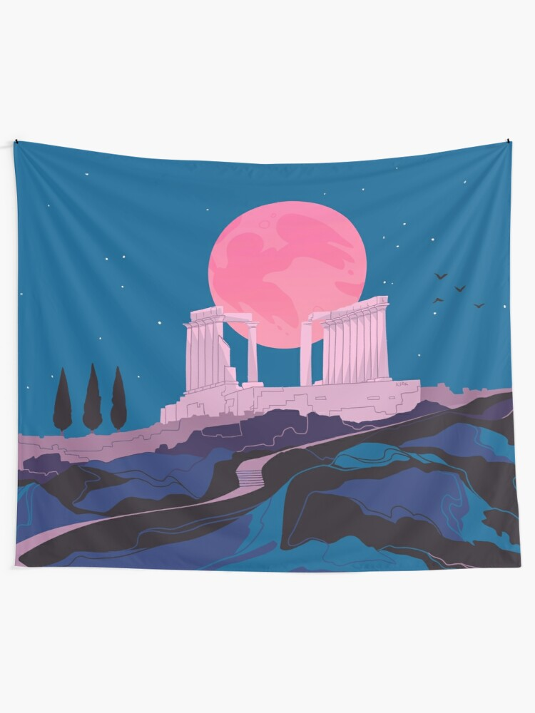 Alternate view of Temple of Poseidon at Sounion Tapestry