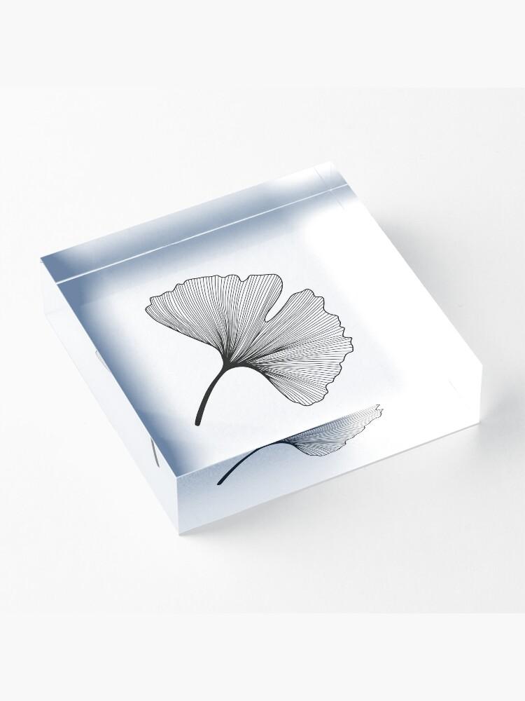 Alternate view of Ginkgo Biloba leaves pattern - black and white Acrylic Block