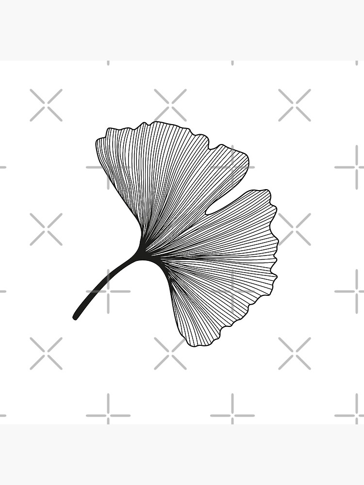 Ginkgo Biloba leaves pattern - black and white by PrintablesP