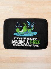 Funny Dinosaur T-Rex Hates Backstroke Swimming Bath Mat