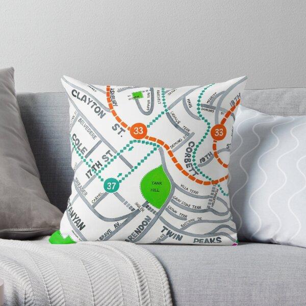 San Francisco map - Ashbury Heights Throw Pillow