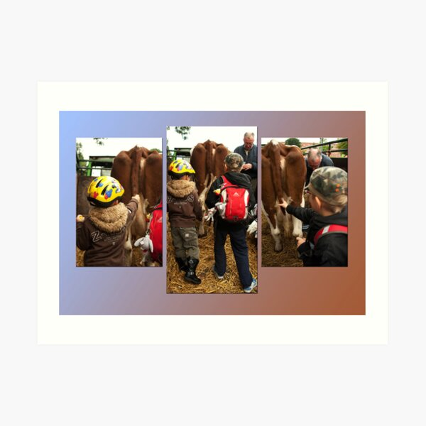 The boys and the cow - triptych Art Print