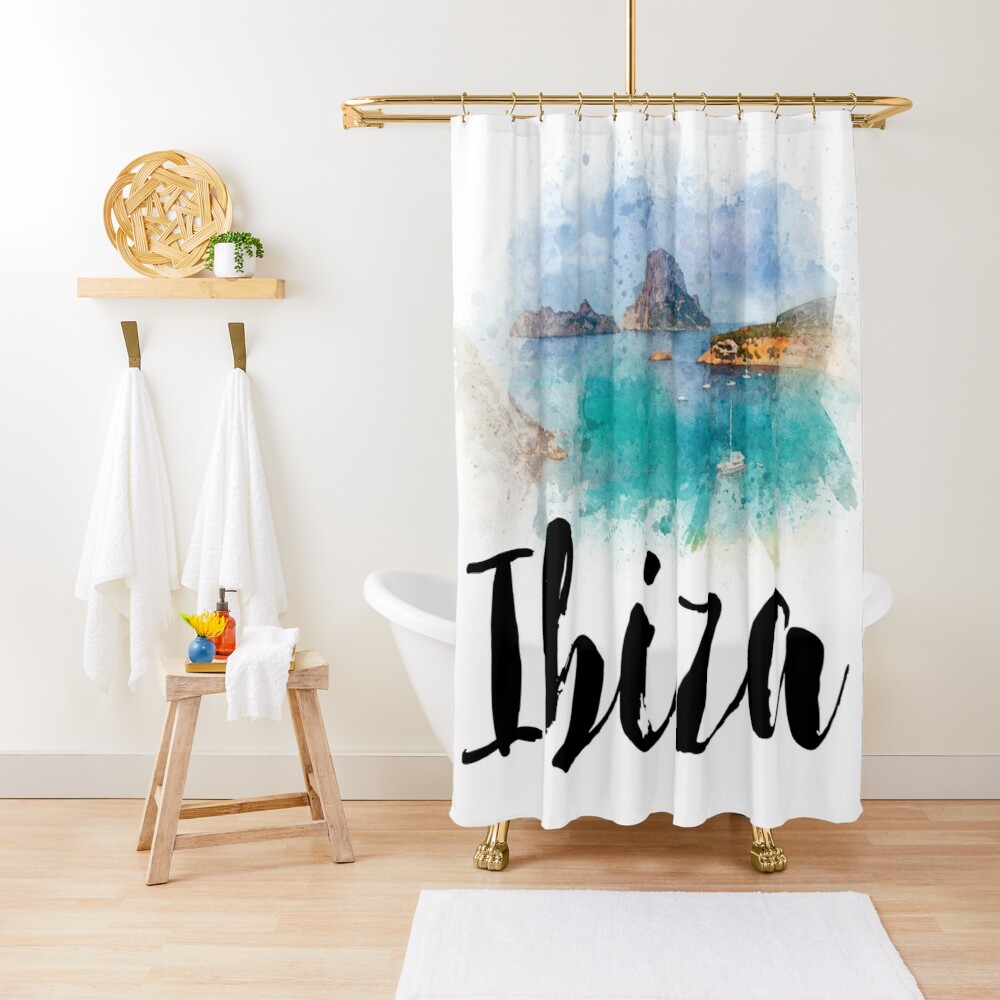 Watercolor Ibiza Shower Curtain