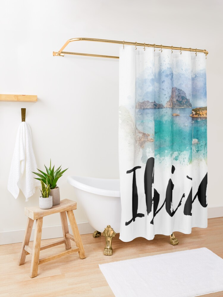Alternate view of Watercolor Ibiza Shower Curtain
