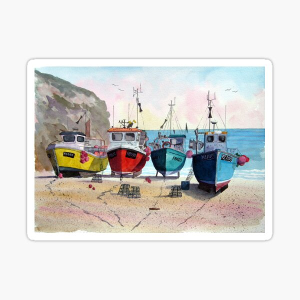 """Ready & Waiting"" - Boats at Cadgwith, Cornwall Sticker"