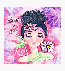 Whimiscal Girl with Flowers Photographic Print