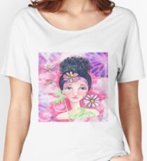 Whimiscal Girl with Flowers Women's Relaxed Fit T-Shirt