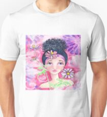 Whimiscal Girl with Flowers T-Shirt