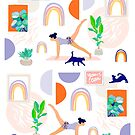 Yoga pose with cat, rainbow and plant wall art pattern by Dominiquevari