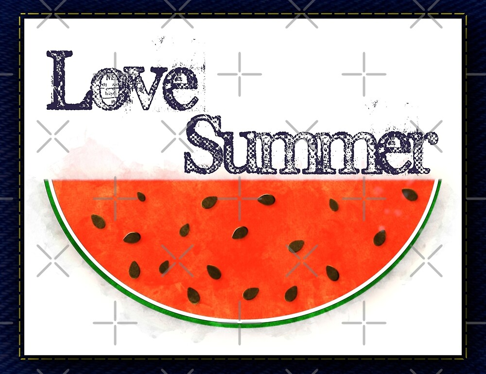 Love Summer - Watermelon Watercolor by Colleen Cornelius