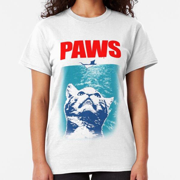 PAWS CLAWS /& JAWS PARODY THE TRILOGY CAT KITTEN UNISEX WHITE T SHIRT