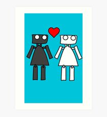 Lady bots in love geek funny nerd Art Print