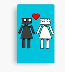 Lady bots in love geek funny nerd Canvas Print