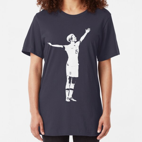 Megan Rapinoe The Victory Pose - White Stencil Slim Fit T-Shirt