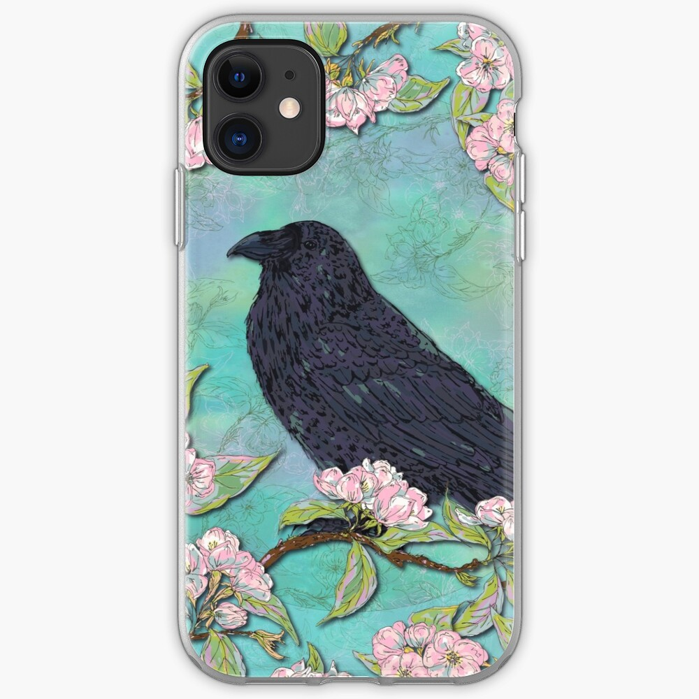 Raven and Apple Blossom iPhone Soft Case