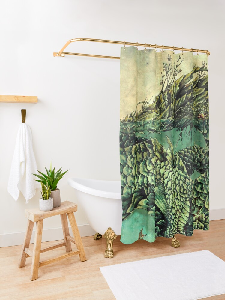 Alternate view of River Dragon Shower Curtain