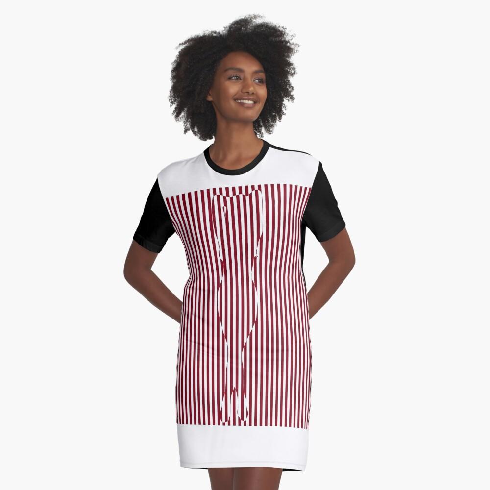 #Woman #Body #Silhouette #Clipart, anatomy, cute, sensuality, sex symbol, striped, elegance, design Graphic T-Shirt Dress