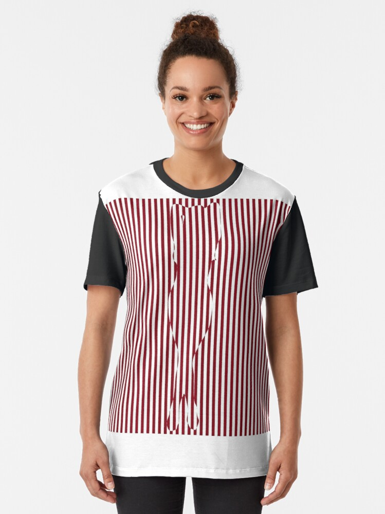 Alternate view of #Woman #Body #Silhouette #Clipart, anatomy, cute, sensuality, sex symbol, striped, elegance, design Graphic T-Shirt
