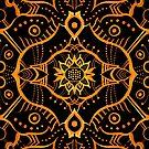 Orange Black Bohemian Ethnic Mandala Arabesque Pattern by clipsocallipso