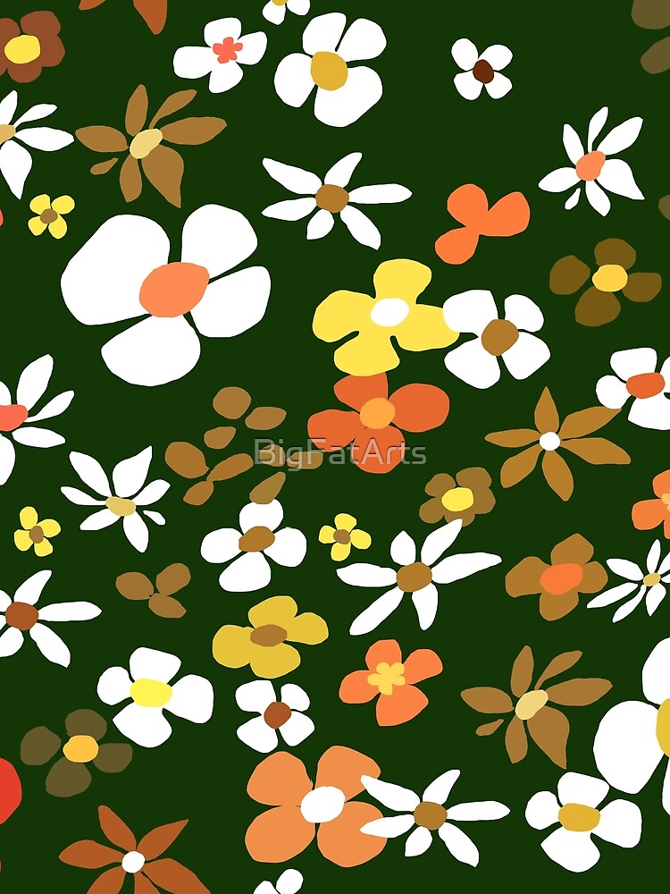 Floral Riot on Green by BigFatArts