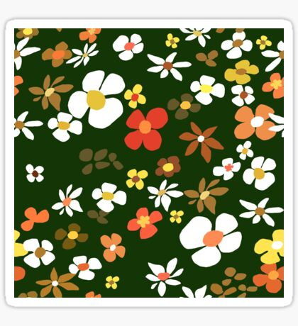 Floral Riot on Green Glossy Sticker