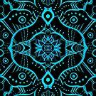 Blue Black Bohemian Ethnic Mandala Arabesque Pattern by clipsocallipso