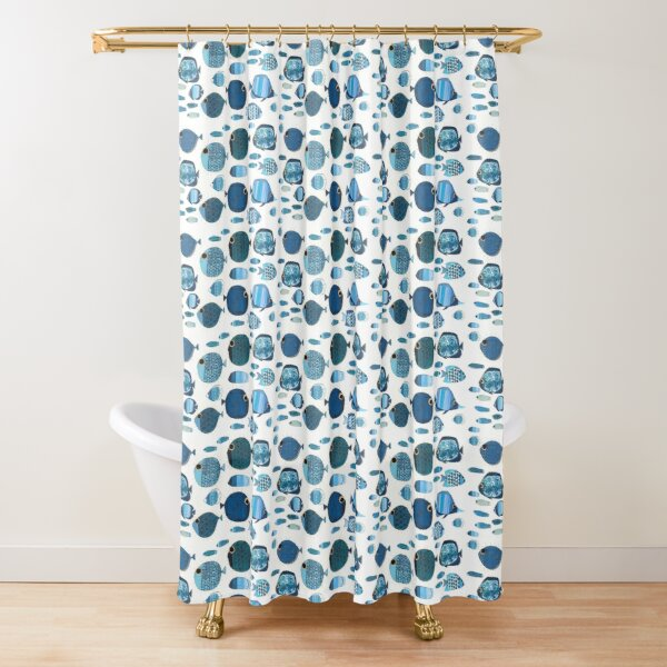 Blue School of Fish Shower Curtain