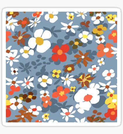 New Floral Light Blue Glossy Sticker